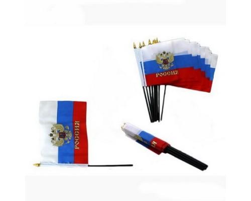 Флаг России 15*22,5см. с гербом без подставки