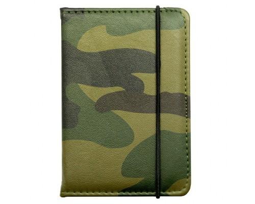 """Обложка для паспорта """"Милитари"""" 9.5х13.5см., на резинке, экокожа"""