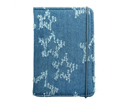 """Обложка для паспорта """"Звёзды"""" 9.5х13.5см., на резинке, текстиль джинса"""