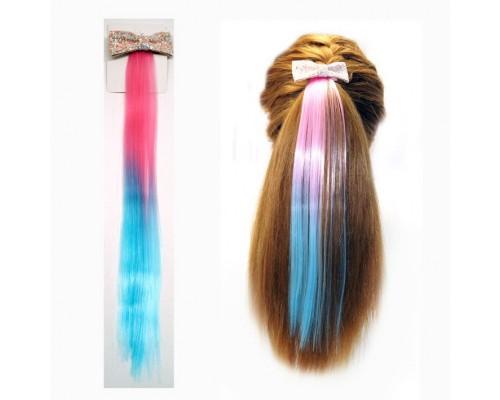 Заколка Прядь волос розовый+голубой цвет, на невидимке, 36 см.