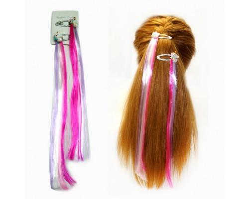 Заколка Прядь волос Единорог розовая, на невидимке, 34 см.
