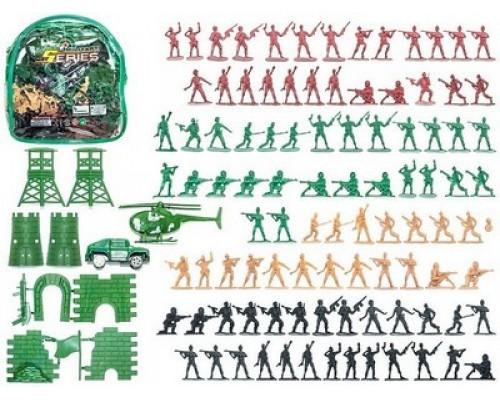 Набор военный с фигурками и техникой средний в прозрач.рюкзаке,43738