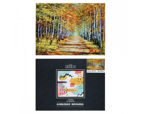 Алмазная мозаика 30*40см КОКОС Дорога в осеннем лесу полная выкладка холст на подрамнике 209531