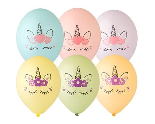 """Воздушные шары Единорог Голова 2 цвета 14"""" 1шт"""